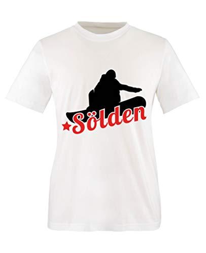 Comedy Shirts - Soelden Snowboard - Mädchen T-Shirt - Weiss/Schwarz-Rot Gr. 152/164