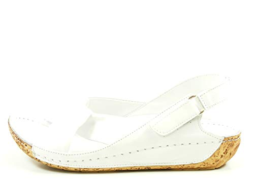Gemini 32024-02 Schuhe Damen Sandalen Sandaletten Leder, Schuhgröße:39 EU, Farbe: Weiß