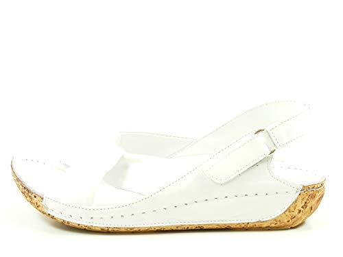 Gemini 32024-02 Schuhe Damen Sandalen Sandaletten Leder, Schuhgröße:37 EU, Farbe: Weiß