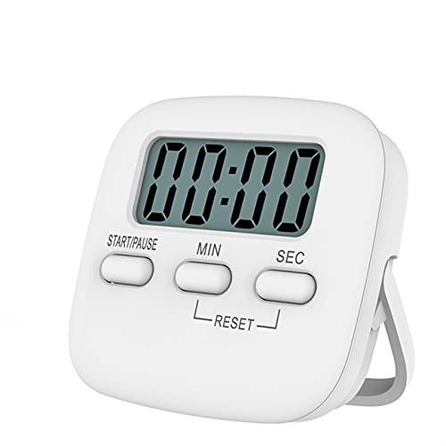 ZHIER Reloj despertador de cocina, pantalla digital LCD, temporizador magnético para cocina, cuenta regresiva, cronómetro, temporizador, color blanco