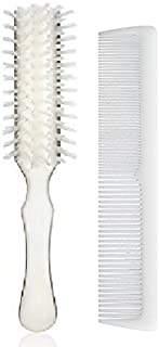 Stanley Home Products Essentials Ladies Hairbrush & Comb Set – Durable Nylon Block & Bristles – Designed for All Hair Types