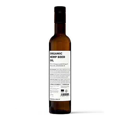 Olio di Semi di Canapa Bio 500ml - Spremuto a Freddo - Omega 6 - Omega 3 - Vitamina E - Antiossidanti