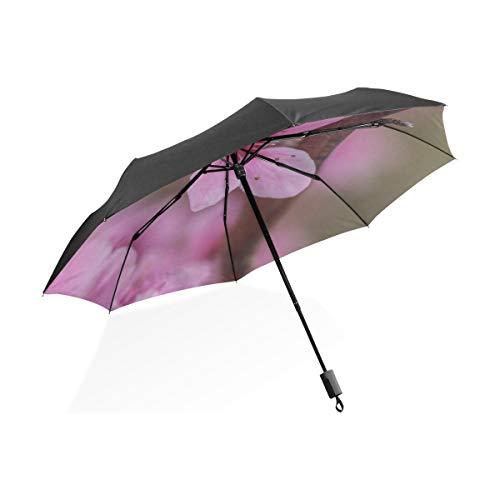 Travell Umbrella Garden Pink Printemps Fleur De Pêche sur La Branche Portable Compact Parapluie Pliant Anti UV Protection Coupe Vent en Plein Air Voyage Femmes Adulte Parapluie pour Femmes