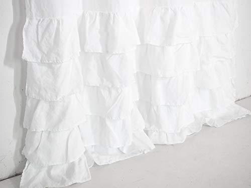 Weiß Leinenvorhänge mit Rüschen. Geraffter Leinenvorhang. Vorhänge vom Bauernhof. Duschvorhänge