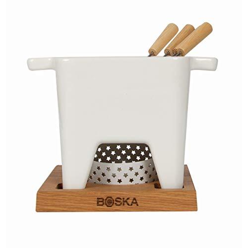 Boska Tapas Fondue Bianco L/Für Käsefondue & Saucen/Kleines Fondue-Set/Mit Untergestell & Teelicht/Mikrowellen- & spülmaschinenfest / 600 ml