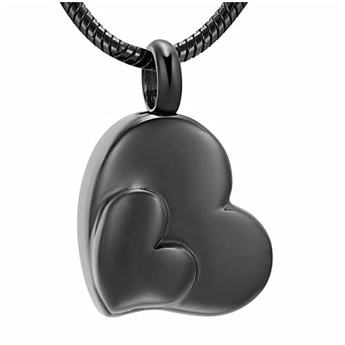 Wxcvz Collar para Cenizas Encantadora Joyería De Urna De Doble Corazón para Cenizas Mujeres Collar De Cremación De Acero Inoxidable De Oro Rosa