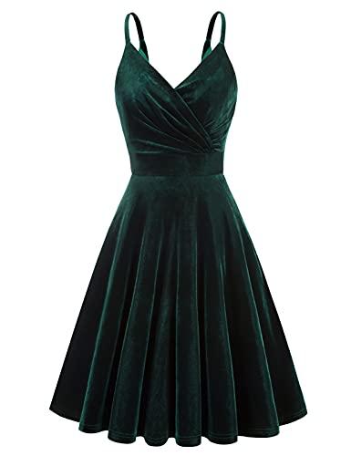 GRACE KARIN Spahetti Strap A-line Velvet Cocktail Dress Dark Green Wrap Dress Size L