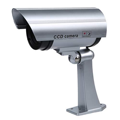 SODIAL (R) Wireless impermeabile Dummy / Falso IR videosorveglianza di sicurezza / telecamera. Con una luce built-in LED rosso lampeggiante, Finto LED IR. Staffa di montaggio inclusa.