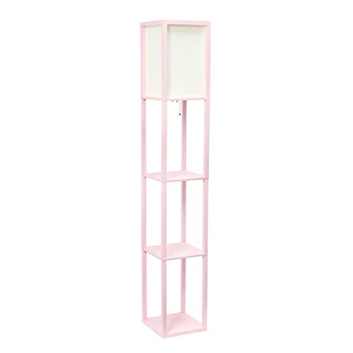 Simple Designs Home LF1014-LPK Etagere Organizer Storage Shelf Linen Shade Floor Lamp, Light Pink