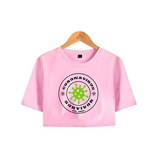 LXHcool 2020 I Corta T-Shirt Manica Coron_avirus Sociale distanze Sopravvissuto Donna Exposed Navel (Color : Pink, Size : XL)