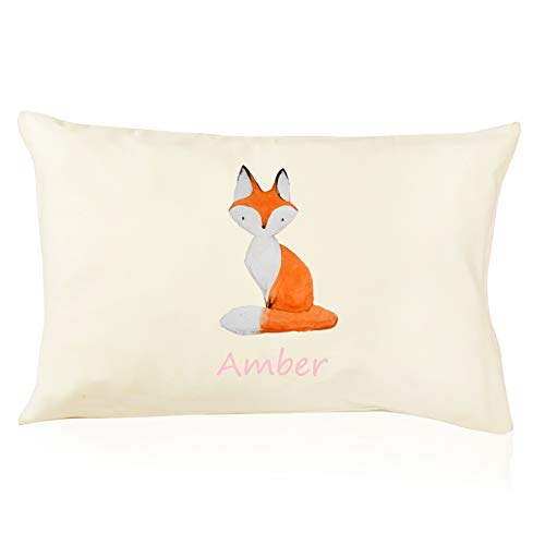 DorDor & GorGor Personalized Toddler Pillow with Watercolor Pillowcase, Ultra Soft Organic Cotton, Giftable Box, 13 X 18 inches, Fox