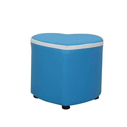 Nevy Osman, en Forme De Coeur Tabouret Matériau PU Support en Bois Multifonction Domicile Bois Massif Tabouret De Table Créatif (Color : Blue)