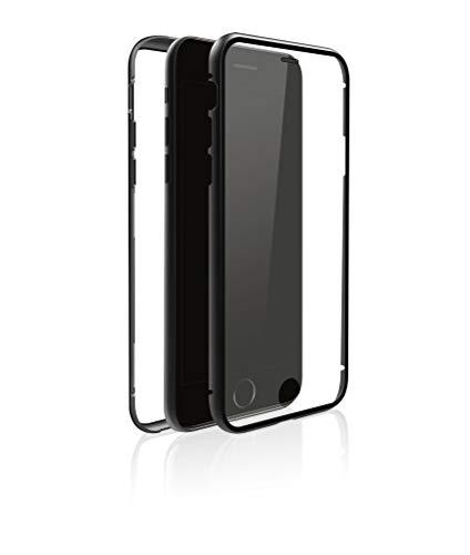 Black Rock - 360 Glass Hülle Hülle kompatibel mit Apple iPhone 7/8/SE (2020) | Magnetverschluss, TPU, Cover, kabellos Laden, Kratzschutz (Transparent mit schwarzem Rahmen)