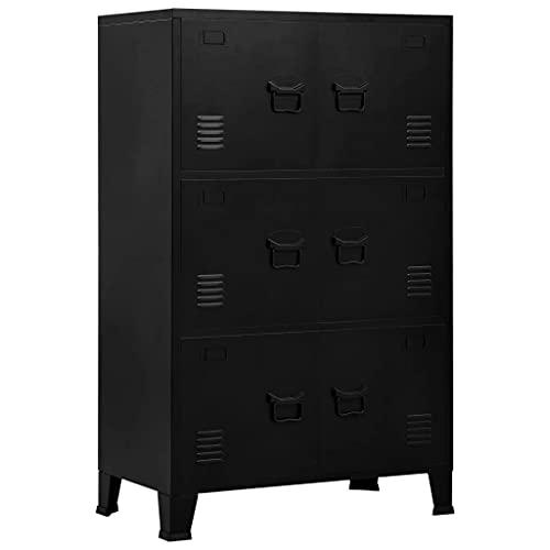 vidaXL Archivador Indutrial con 6 Puertas Mueble Despacho Oficina Armario Malla Cajones Compartimentos Almacenamiento Organizador de Acero Negro