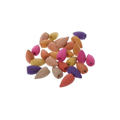 XISAOK 28/60/70/125 peças de incenso de refluxo natural misturado cone bala fumaça refluxo aromaterapia rosa jasmim lavanda regulação emoção