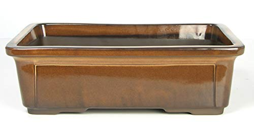 CERTRE Vaso Bonsai Rettangolare 7000 in gres - cm.38,5x28 h.12- Colore Crema Catalana Chiara Smaltato