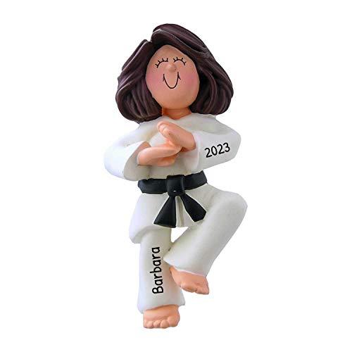 Personalized Karate Girl Christmas Tree Ornament 2020 - Brunette Woman Athlete Belt Pose School Teacher Hobby Child Kid Grand-Daughter Kick - Free Customization (Brown Hair Female)