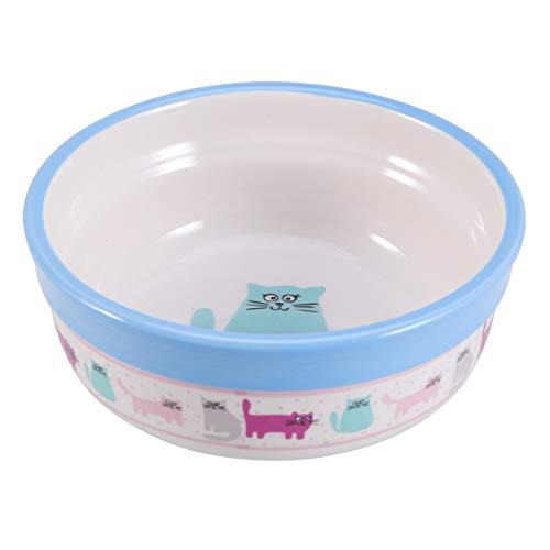 POPETPOP Platos de cerámica para Agua y Comida para Perros y Gatos, Cuenco con Dibujos Animados, fácil de Lavar