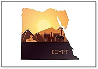 The Abstract Landscape of Egypt with the Pyramids and the Sphinx in Egypt Map Fridge Magnet