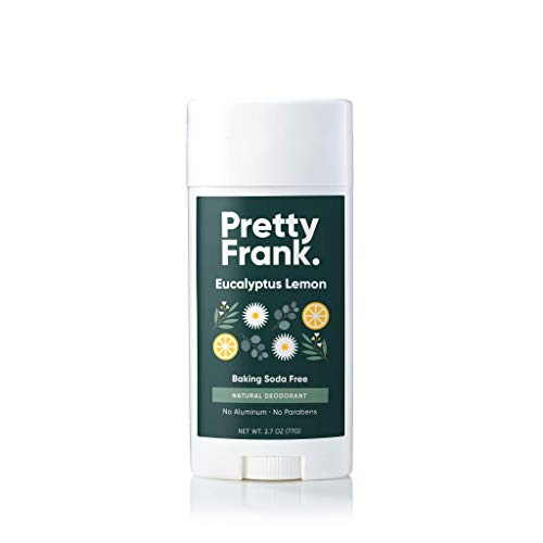 Pretty Frank Natural Deodorant Stick- Baking Soda Free Natural Deodorant for Women, Men, Teens – Paraben Sulfate Free with Arrowroot, Coconut Oil, Shea Butter, Vitamin E, Zinc – Eucalyptus Lemon