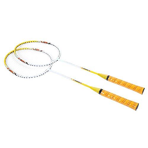 Josopa 1 par de Raquetas de Bádminton Ligeras con Bolsa de Accesorios de Bádminton para Entrenar Practicando Entretenimiento Amarillo