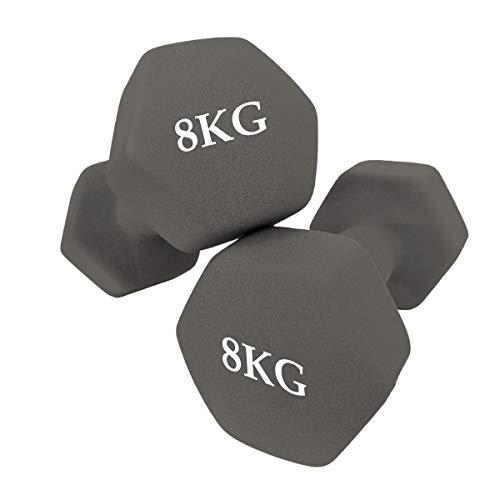 unycos - Set de 2 Mancuernas - Ejercicio Fitness - Entrenamiento en Casa - Gimnasio (8 KG)