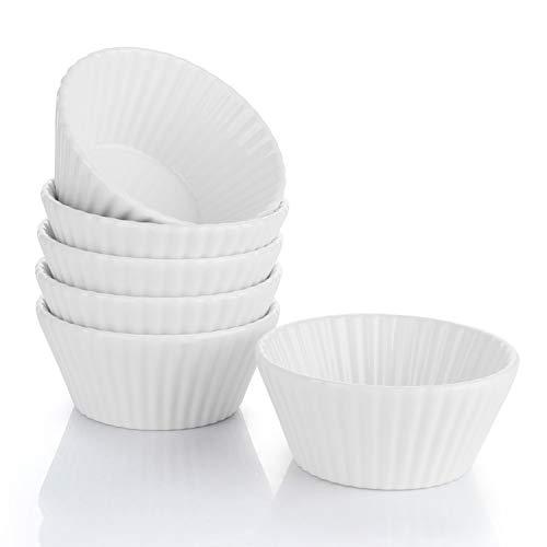 Sweese 522.001 Cupcake Formen aus Porzellan, 9.5 cm Mini Muffin Förmchen, Wiederverwendbare Antihaftbeschichtung Backförmchen 6er Set, Weiß
