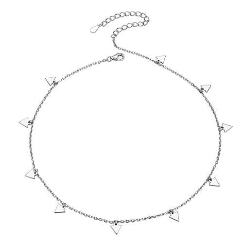 Choker Plata de Ley 925 Chapado en Oro Blanco con Diez Triángulos Pequeños Collar Corto Básico de Gargantilla Regalo Novias