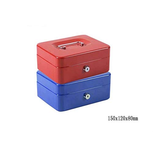 WEIFAN Tray Cash Box, Cash Box with Coin Rack and Bills Tray (Set of Two),Red + Blue / 2
