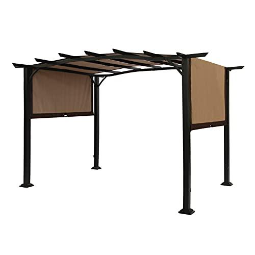 SUNA OUTDOOR Pergola 12 x 9 Ft Patio Gazebo, Outdoor Patio Sunshelter Steel Frame Pergola Retractable Canopy Shade for Backyard, Beige