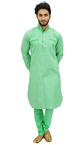 Atasi Hombres Pathani Style Hombres Punjabi Shirt Green Kurta Pajama Set-Medium