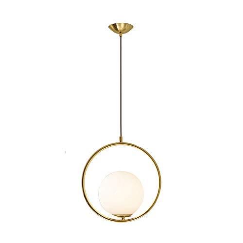 Wings of wind - Suspension luminaire, Corps de Lampe en métal de 35 cm et Abat-Jour en Verre, luminaire Suspendu E27 pour Home Hotel Bar (Or)
