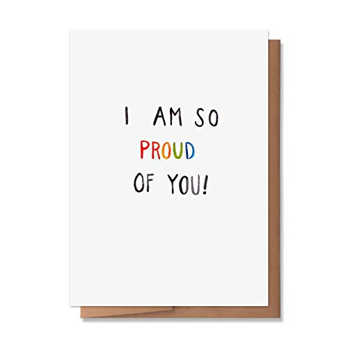 Wunderkid Congrats on Coming Out Card, I am so Proud of You Watercolor Card (1 Single Card, Blank inside)