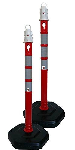 UvV® Duo 2 Stk. Kettenpfosten Kettenständert Absperrpfosten, Ø63 x 1000mm, Fußplatte zum Einrasten in schwarz mit Gewichtsverstärkung, 3 reflektierende Folienstreifen