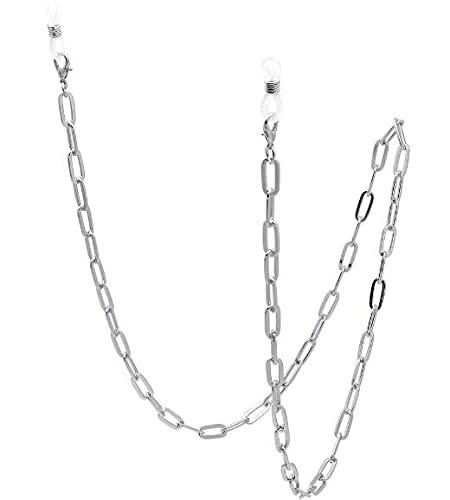 Moda máscara cadena gafas máscara máscara cadena cadena collar multifuncional cordón para mujeres niñas (plata)