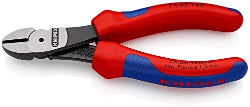 KNIPEX 74 02 140 Pince coupante de côté à forte démultiplication noire atramentisée avec gaines bi-matière 140 mm
