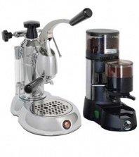 La Pavoni Chrome Combo set 11: Handhebel Espressomaschine La Pavoni Professional STL und La Pavoni Kaffemühle JDL