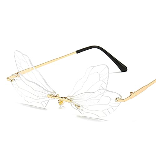 Oplu Rimless Sunglasses Dragonfly Cut-Edge Shape Colorful Dance Party Glasses Fotos Props Festive Prom Dress Up Glass