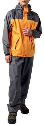 [ファーストダウン] レインウェア 上下セット レインスーツ 防水 撥水 収納袋付き オレンジ L