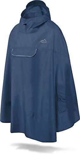 normani Unisex Regenponcho - Wind und Wasserdicht mit Bauchtasche, 3M Refelktoren und seitlichen Eingriffen Farbe Marineblau Größe L
