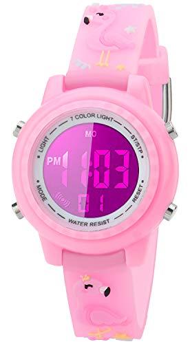 Reloj para niños 3D con dibujos animados y reloj digital de muñeca resistente al agua, 7 colores con alarma cronómetro para niños de 3 a 10 años, Reloj 3D de dibujos...