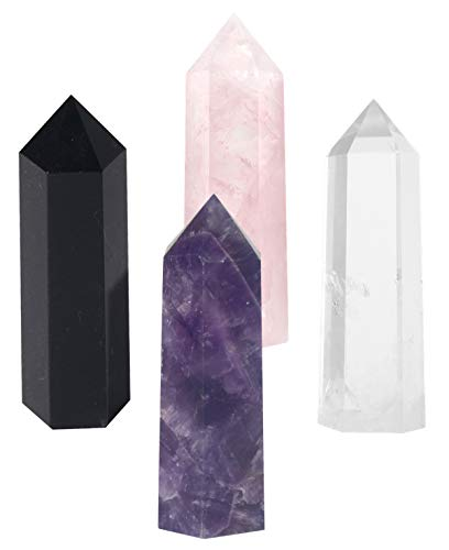 Luckeeper Healing Crystal Wands,2 Amethyst Crystal, Rose Quartz,Clear Quartz and Black Obsidian?6 Faceted Reiki Chakra Stones 4 pcs