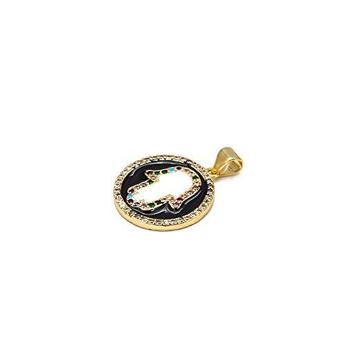 Revilium Evil Eye Colorful Zircon Fatima Hamsa Charm De Mano Cobre Oro Color Charm Redondo para Pulsera Collar Fabricación De Joyas DIY