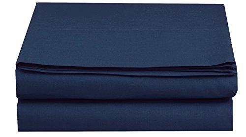 Elegant Comfort Luxury Flat Sheet on Amazon Wrinkle-Free 1500 Thread Count Egyptian Quality 1-Piece Flat Sheet, King Size, Navy Blue