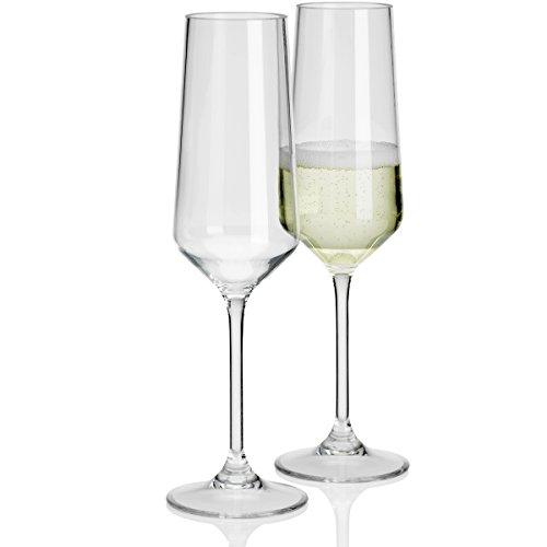2 Stück Savoy Polycarbonat 290ml Sektglas Echtglasoptik bruchfest Camping Gläser Champagnergläser Glas Kunststoff Trinkkelch glasklar elegantes Design Outdoor Partyglas Bruchfest Trinkglas Wasserglas