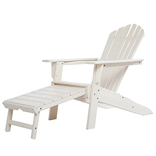 ResinTEAK All Weather Adirondack Chair with PULLOUT Ottoman | Adult-Size, Weather Resistant for Patio Deck Garden, Backyard & Lawn Furniture | Easy Maintenance (White)