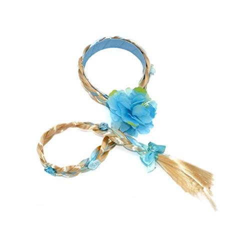 Berrywho 1pc niños postizo Princesa Elsa Peluca Larga de Cosplay de la Peluca Trenzada de Hairband de Vestir Accesorios Trenzado para Niños Chicas (Azul)