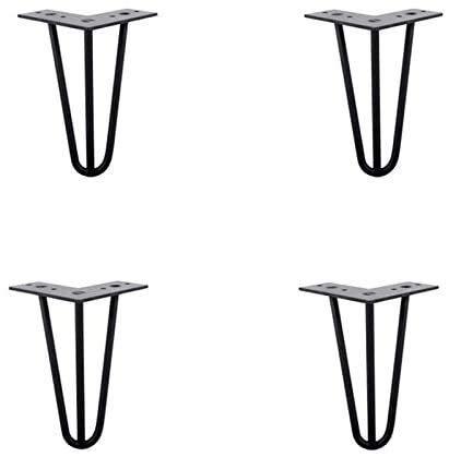 PATA Patas de hierro forjado negro para muebles, patas de horquilla, (juego de 4) una variedad de tamaños, accesorios de hardware para mesa de café, patas de cama, patas de noche (tamaño: 25,5 cm)