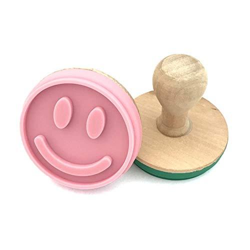 Silikon-Keks-Stempel Diy Kuchen-Gebäck-Keks-Form mit Holzgriff Smiley-Gesicht Liebe Schneemann-Ausstecher Backwerkzeuge, Smiley-Gesicht, China