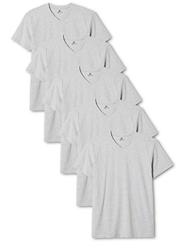Lower East Herren T-Shirt mit V-Ausschnitt, 5er Pack, Einfarbig, Gr. Medium, Grau (Grau Melange)